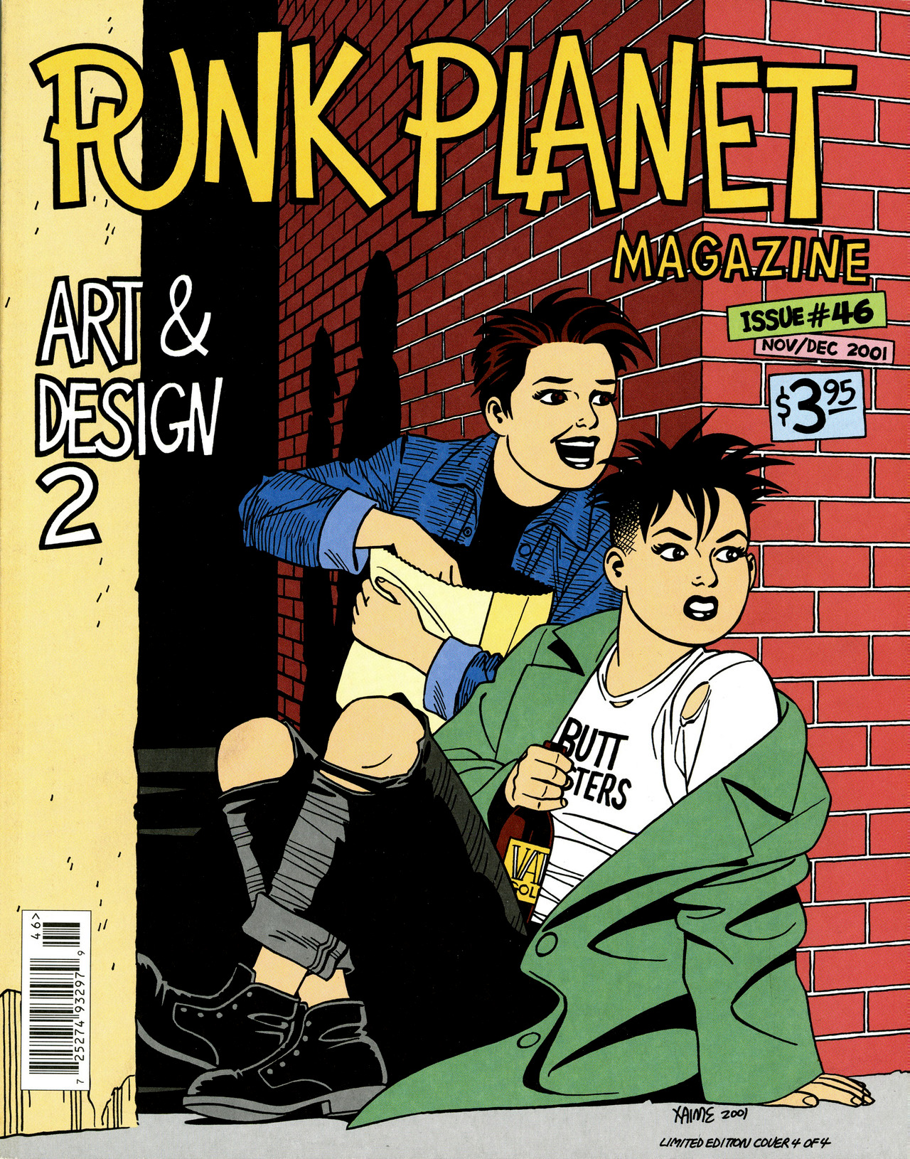 Punk Planet Magazine nº 46, 2001, capa de Jaime Hernandez com Maggie e Hopey da série Love and Rockets