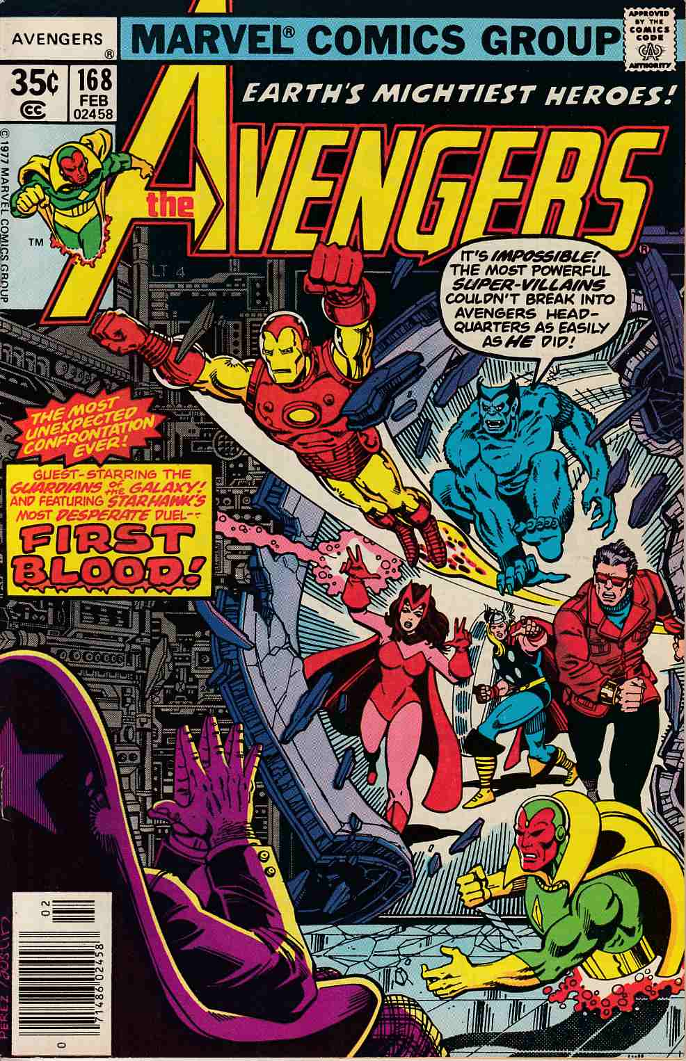 Capa de The Avengers #168 (1977)